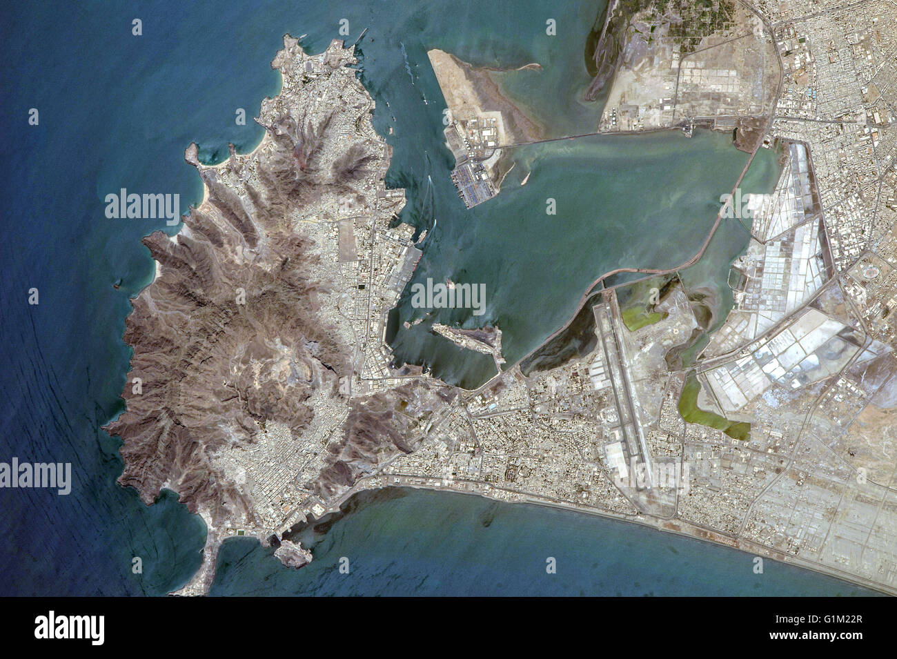 The middle eastern country of Yemen and the ancient port city of Aden located by the eastern approach to the Red - Stock Image
