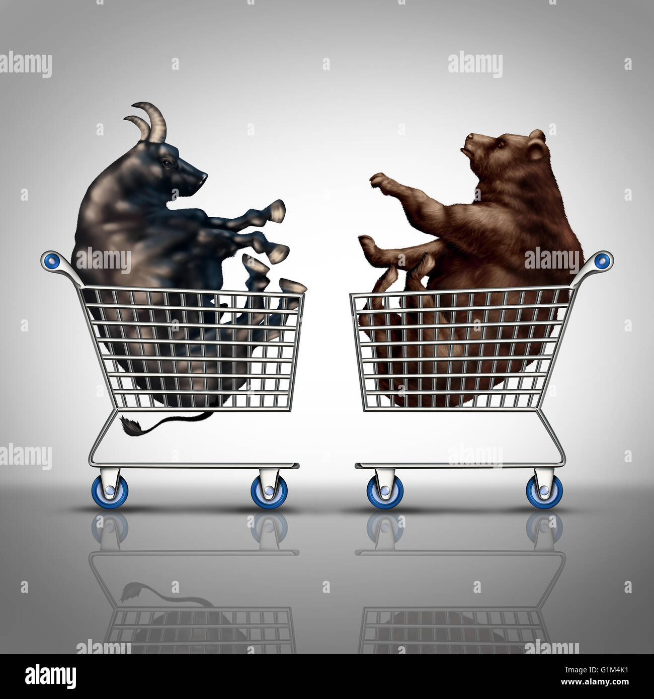 Stock market shopping and trading decision financial concept as a bear and a bull inside a shop cart as an investing - Stock Image