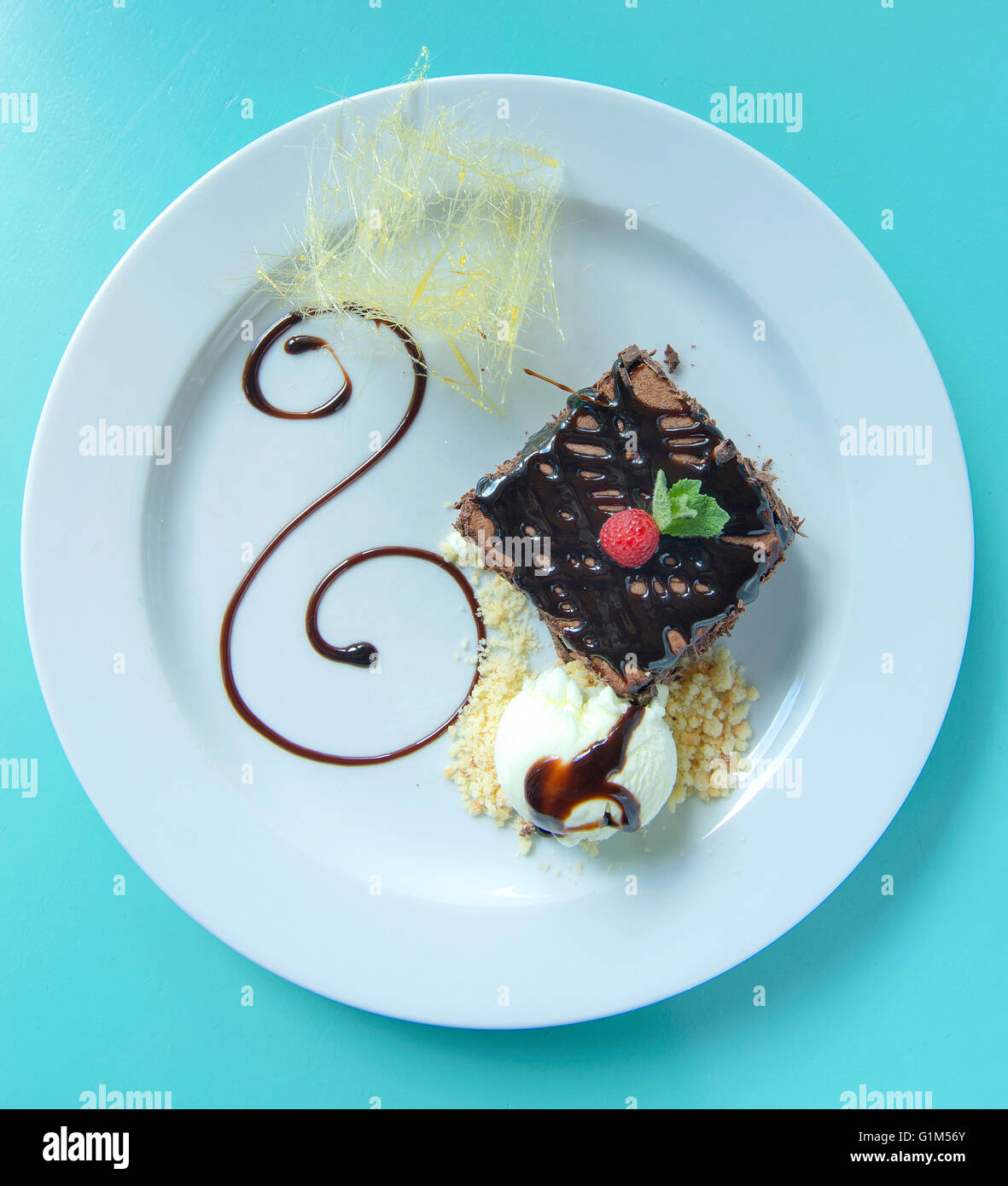 tasty double chocolate brownie with ice-cream plating Stock Photo