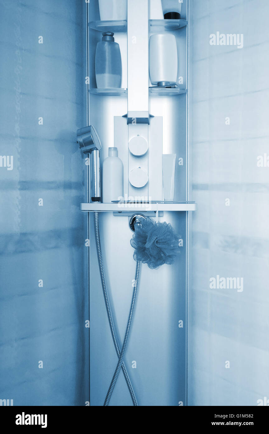 Shampoos on a shelf in new shower cubicle Stock Photo: 104320050 - Alamy