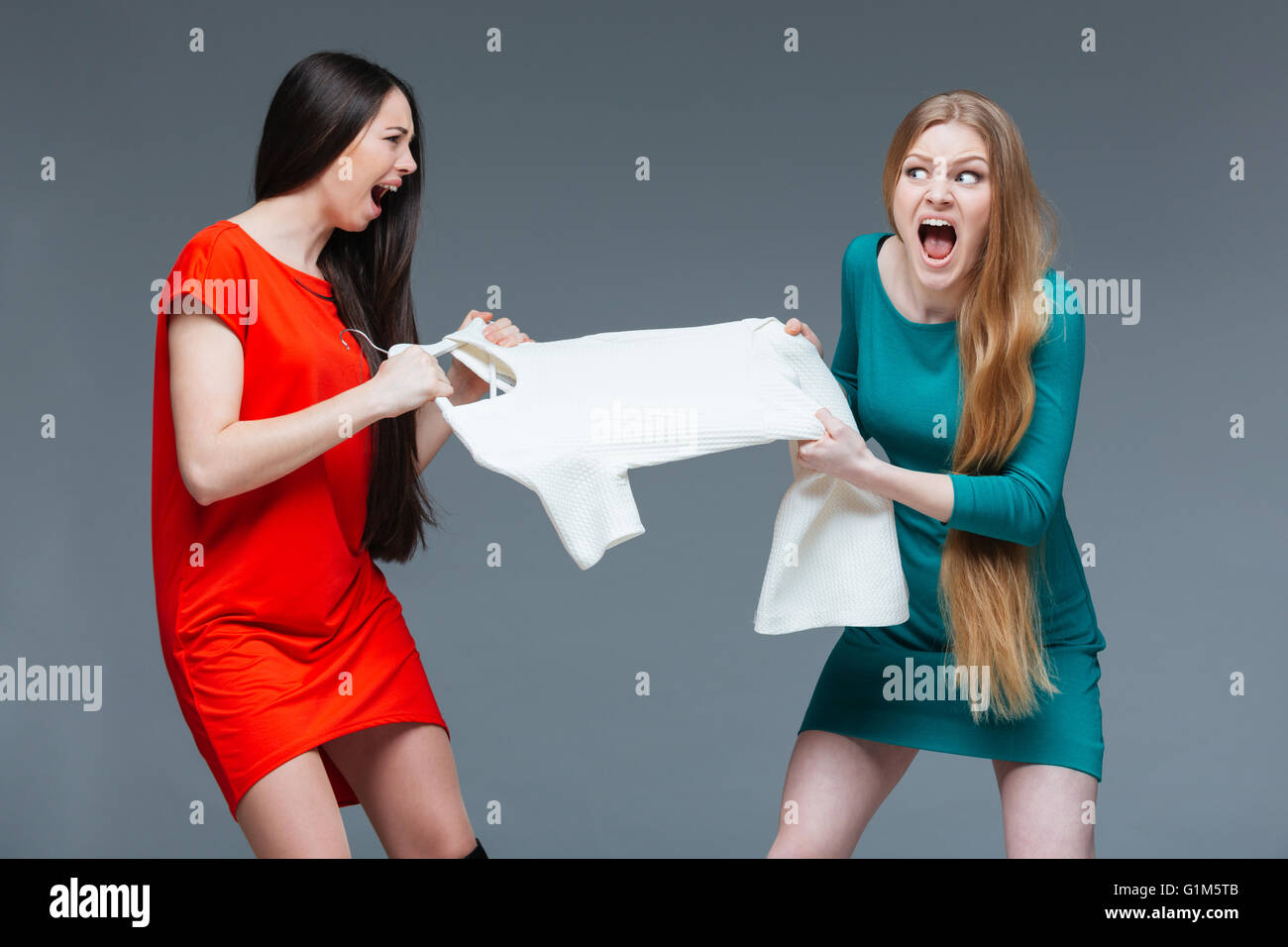 Two pretty angry young women with long hair quarreling and fighting for white dress over grey background - Stock Image