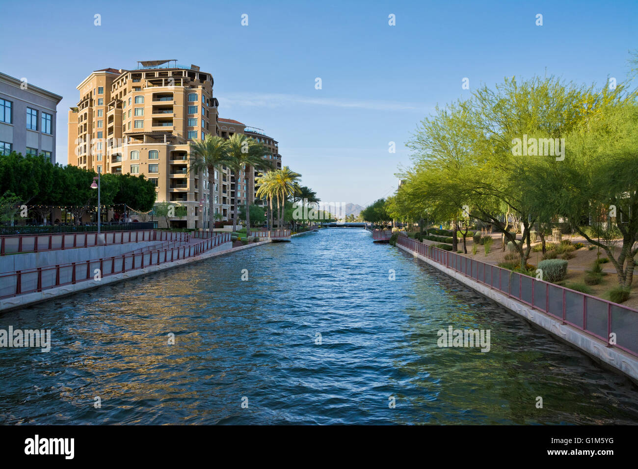 View Of Arizona Canal In The Scenic Scottsdale Waterfront