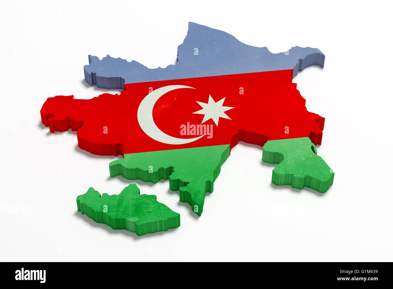 3d Rendering Of Azerbaijan Map And Flag Stock Photo Alamy