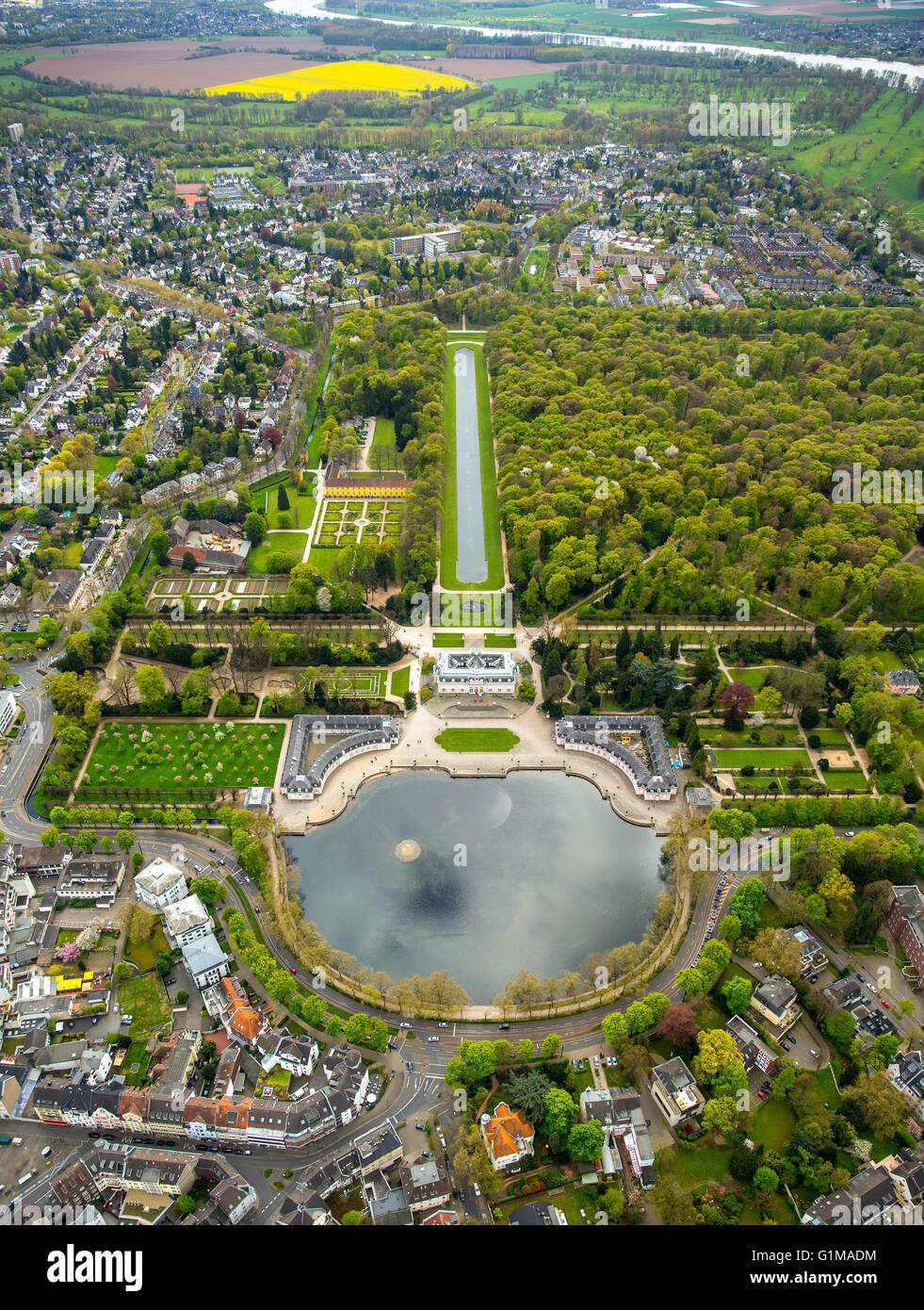 Aerial view, Schloss Benrath Castle with pond and palace gardens, Benrather Schlossallee, Dusseldorf, Rhineland, Stock Photo