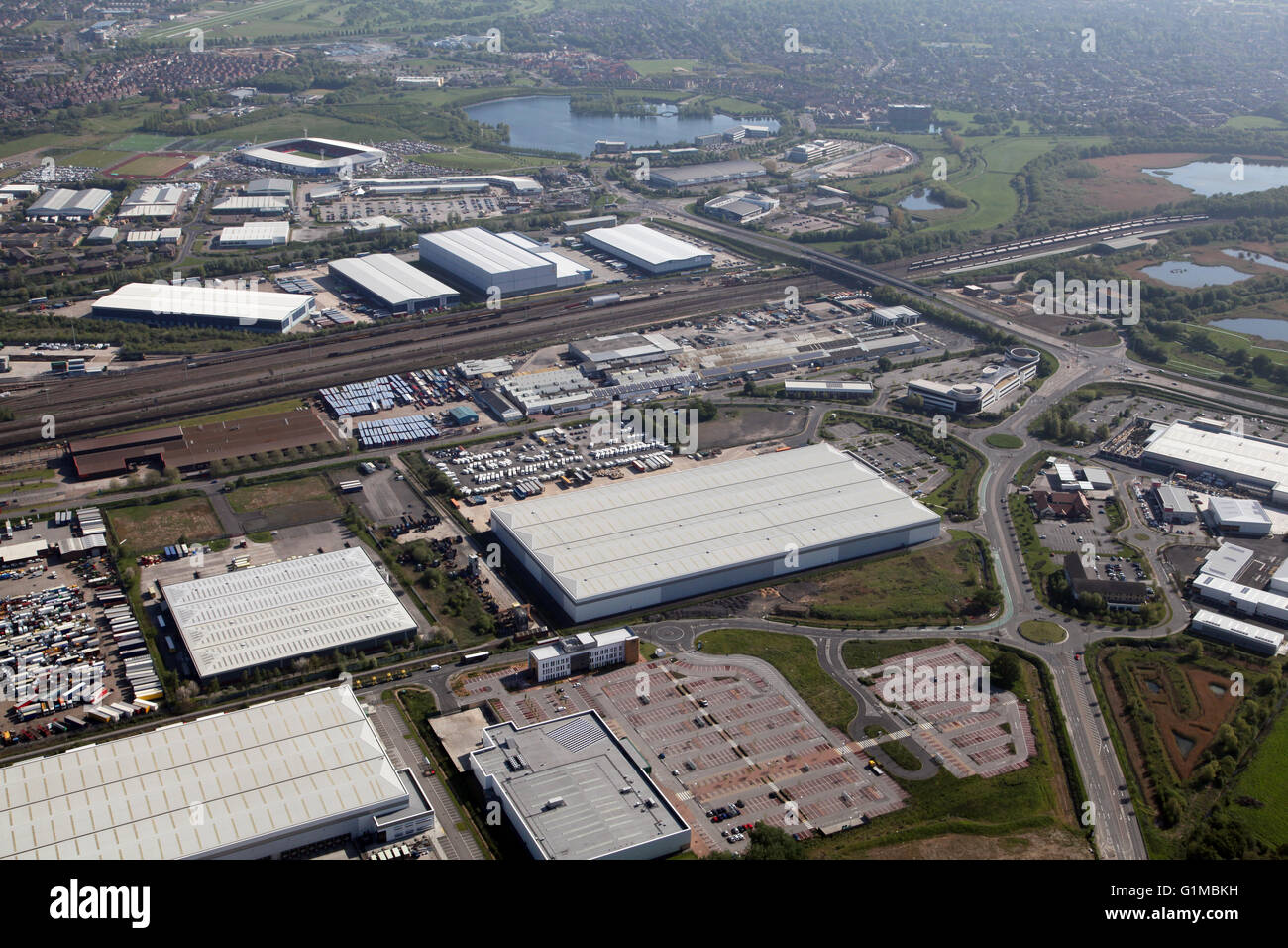 aerial view of Woodfield Way leading to A6182 White Rose Way, Balby Carr, Doncaster, UK - Stock Image