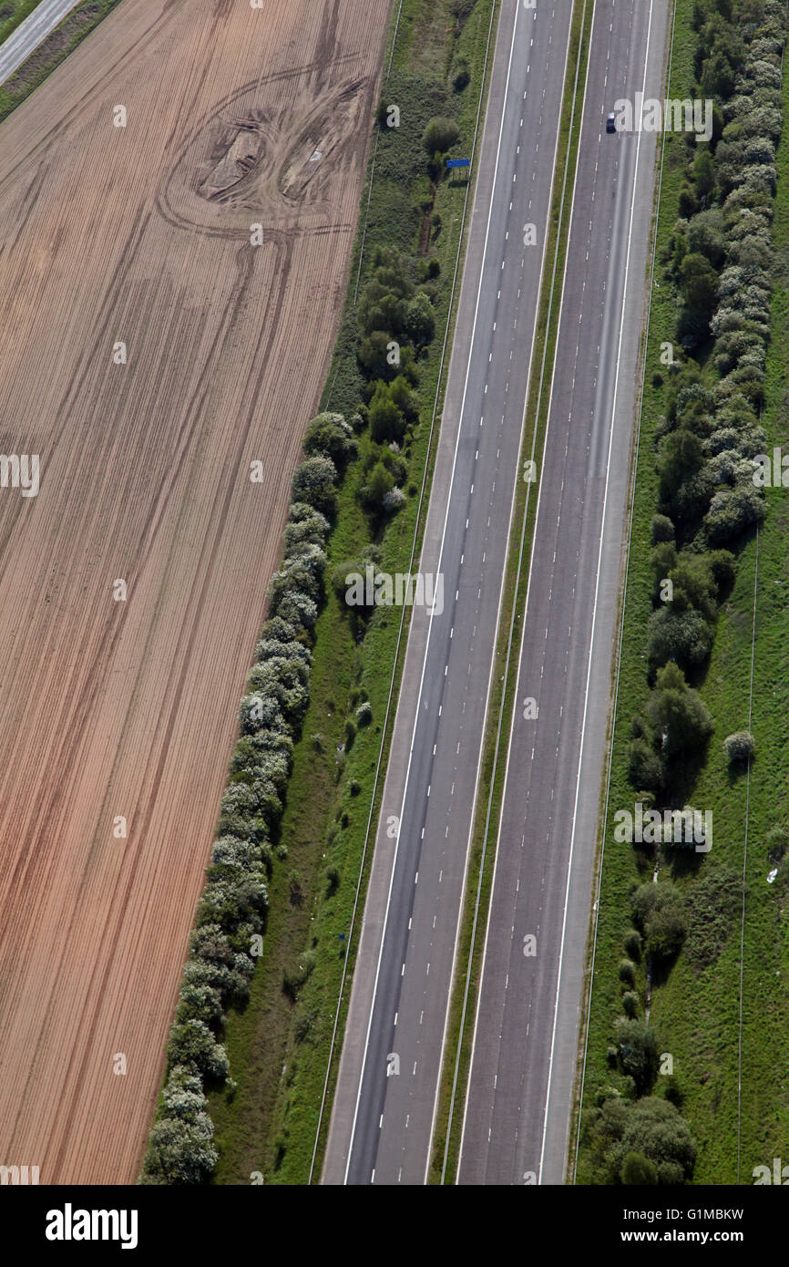 aerial view of an empty M62 motorway with just 1 car, East Yorkshire, UK - Stock Image