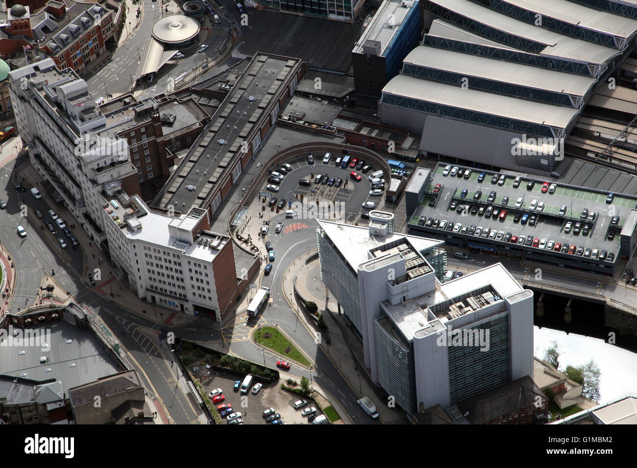 aerial view of the drop off & pick up point at Leeds City Station, UK - Stock Image