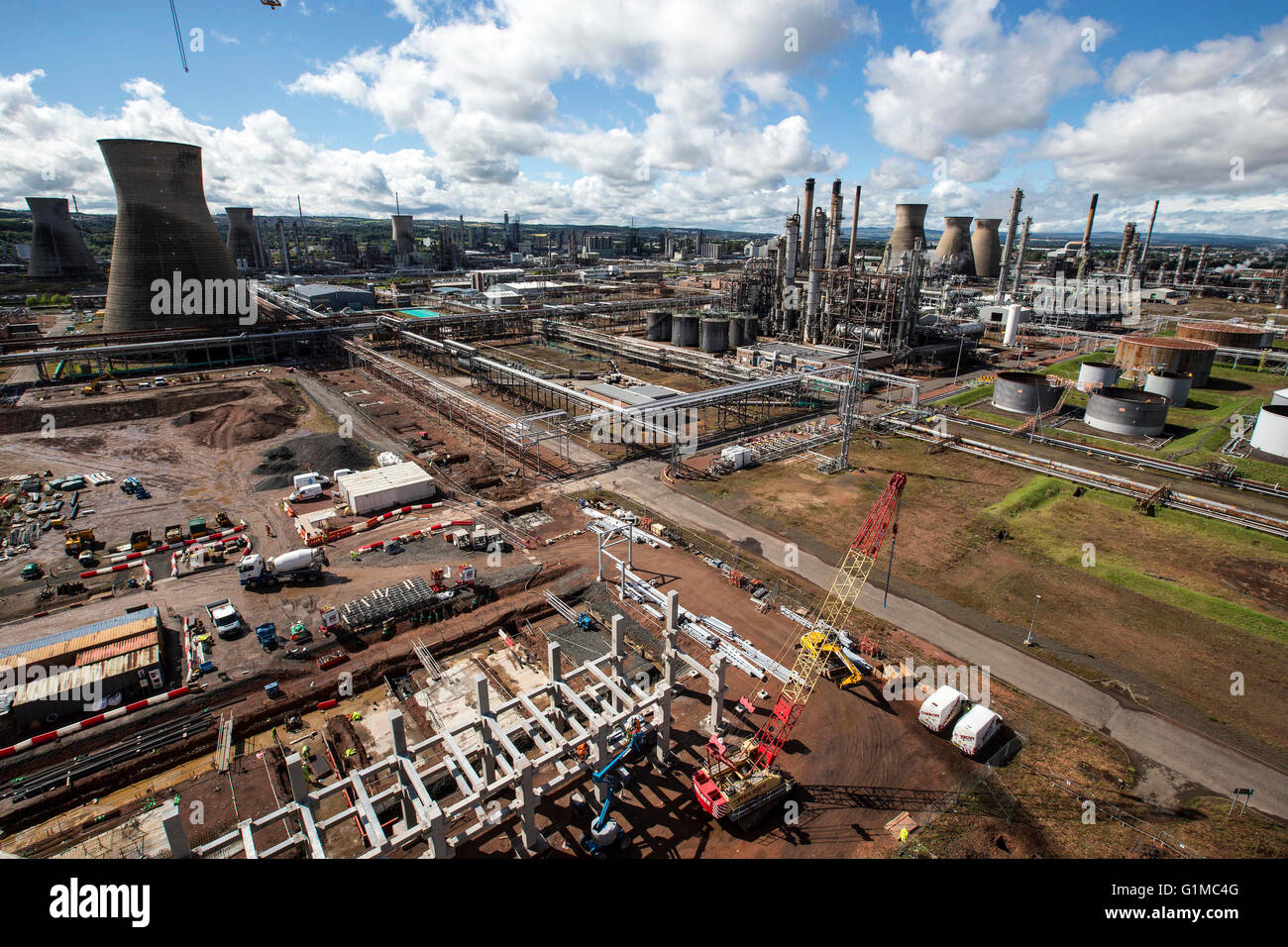 Concrete pour on new cooling tower - Stock Image