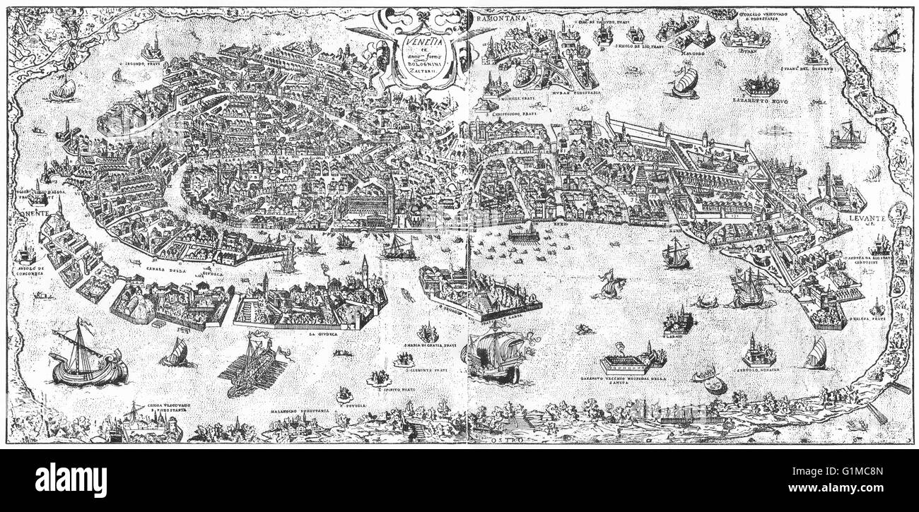 VENICE: Venice in the sixteenth century, 1930 vintage map - Stock Image