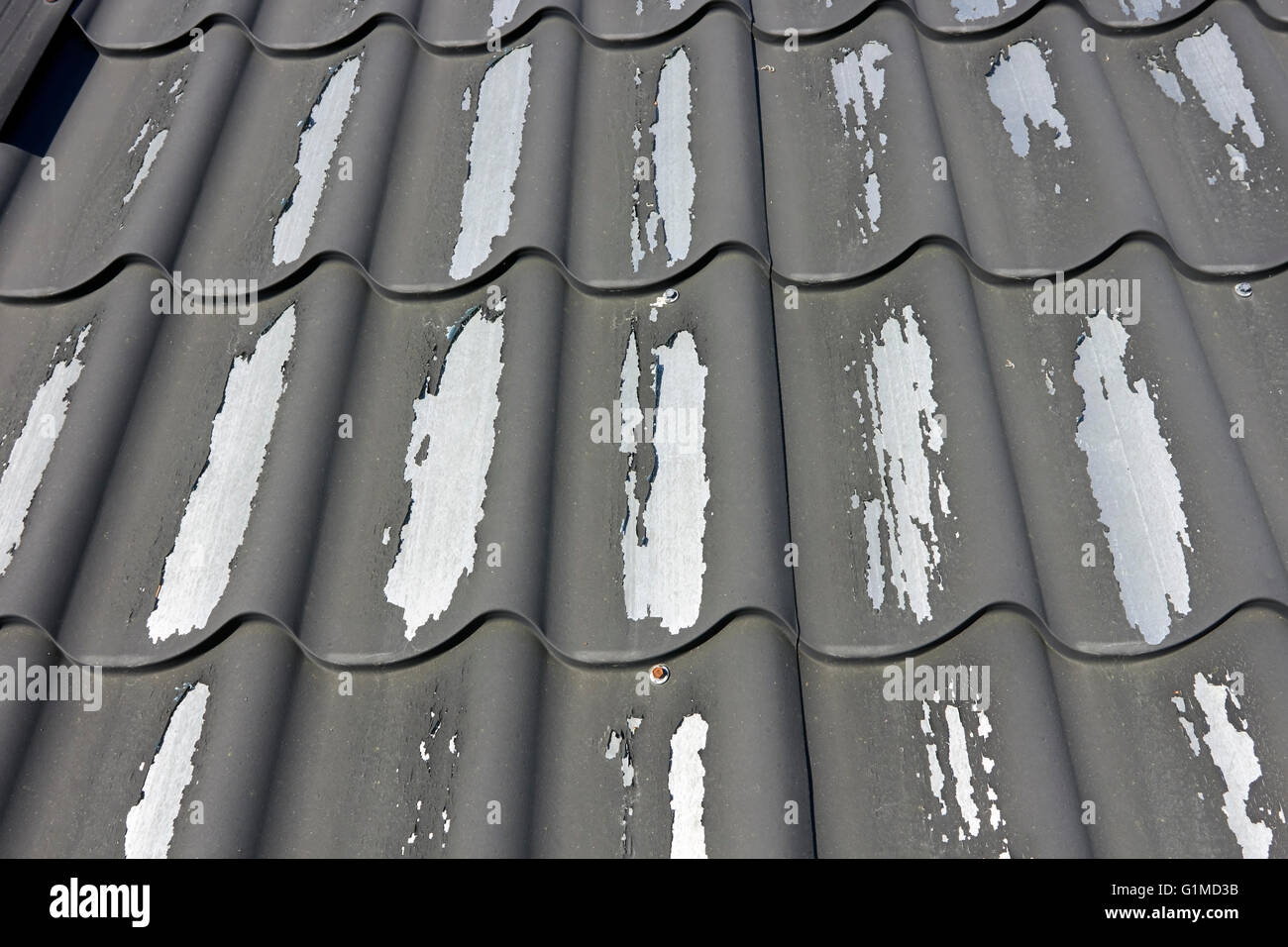 Corrugated Metal Roof With Peeling Paint Finland Stock