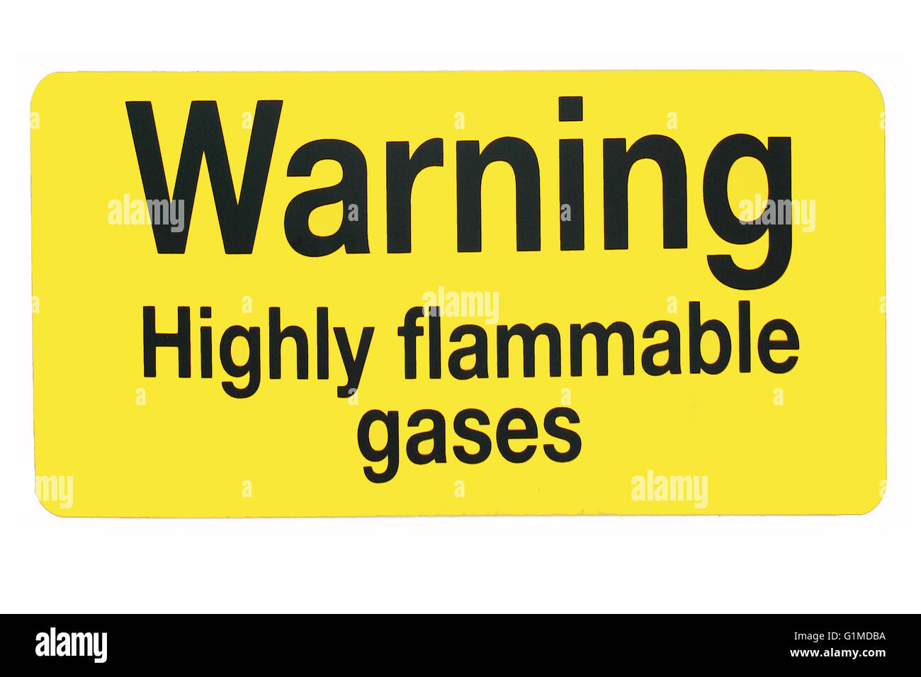 Flammable gases warning sign in yellow and black. - Stock Image