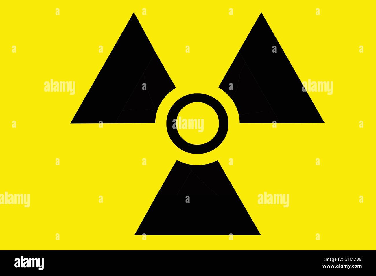 Radiation or radioactivity warning icon or symbol - Stock Image