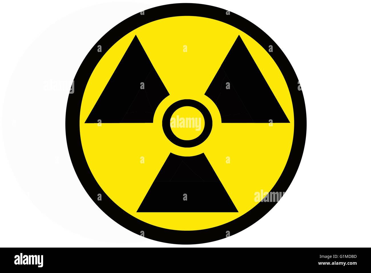 Circular shaped radiation warning sign or badge - Stock Image