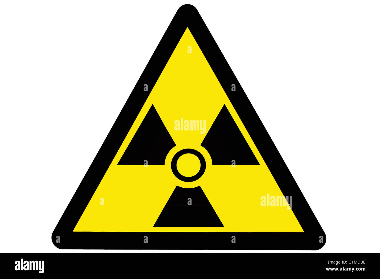 Triangular shaped radiation warning sign Stock Photo
