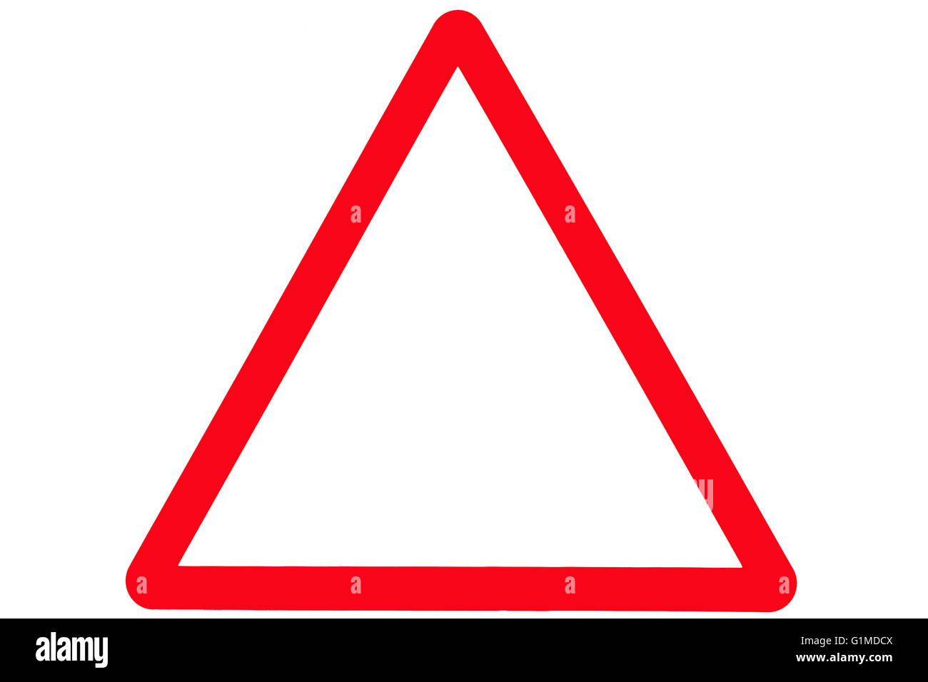 An empty triangle or triangular road or street sign with a red border. - Stock Image