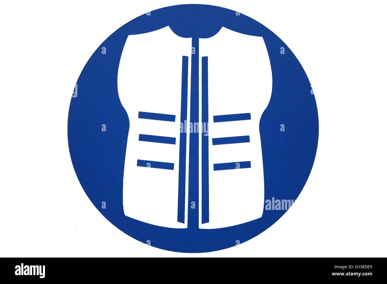 A circular safety jacke or vest sign in blue and white  isolated - Stock Image