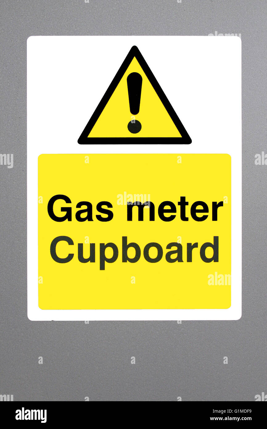 Gas meter safety sign - Stock Image