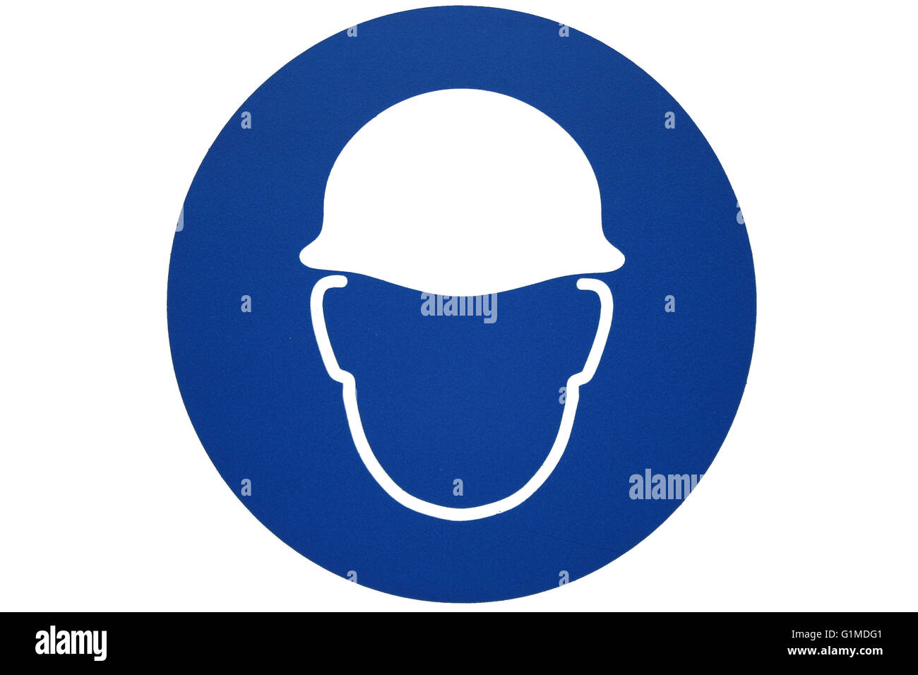 A safety helmet sign or motif showing a safety hat shape in