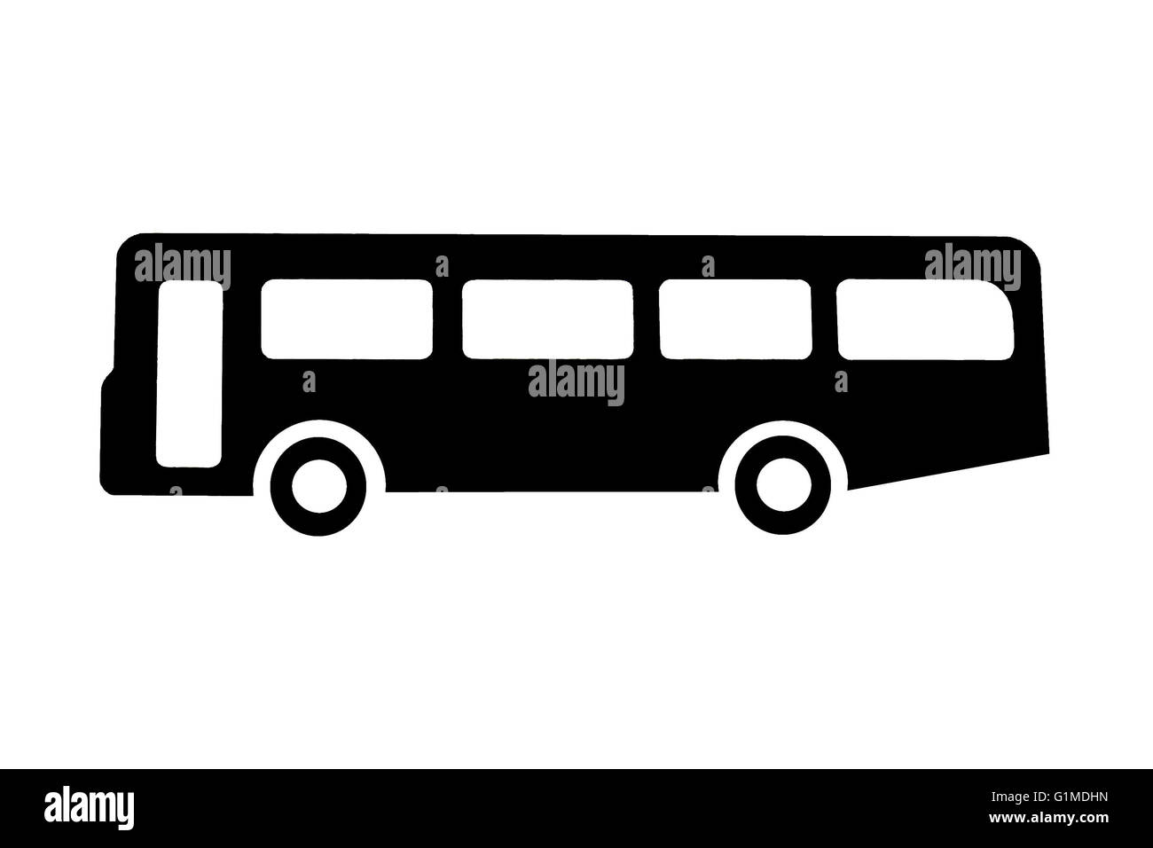 A bus or coach in black on white for signs or information - Stock Image
