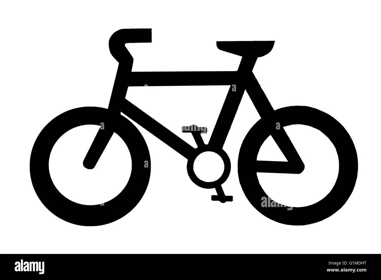 Isolated silhouette of a bicycle for signs or information Stock Photo