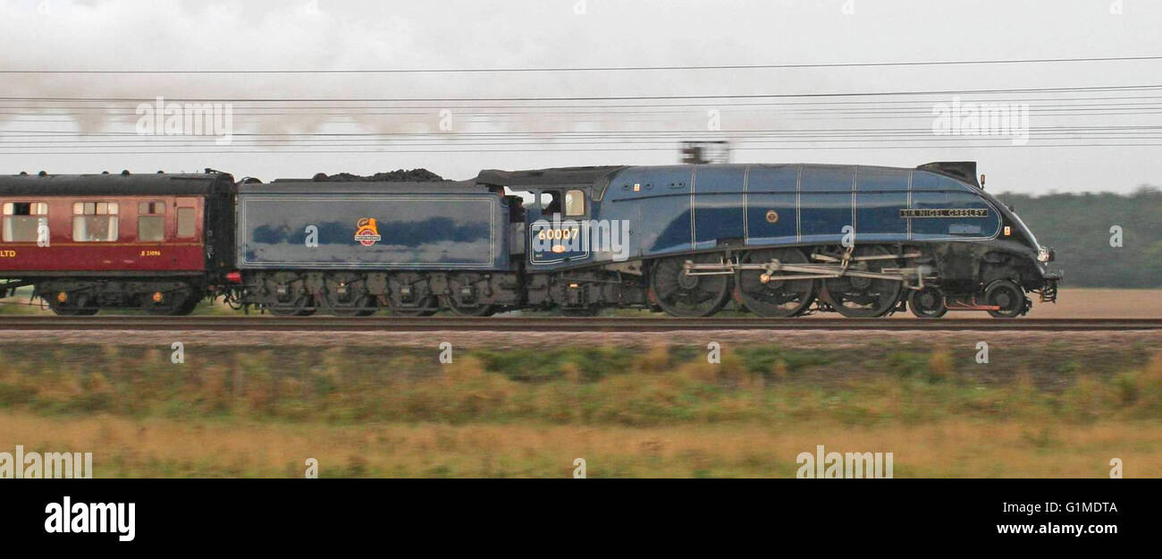 Sir Nigel Gresley with the 'Heart of Midlothian' north of York - Stock Image