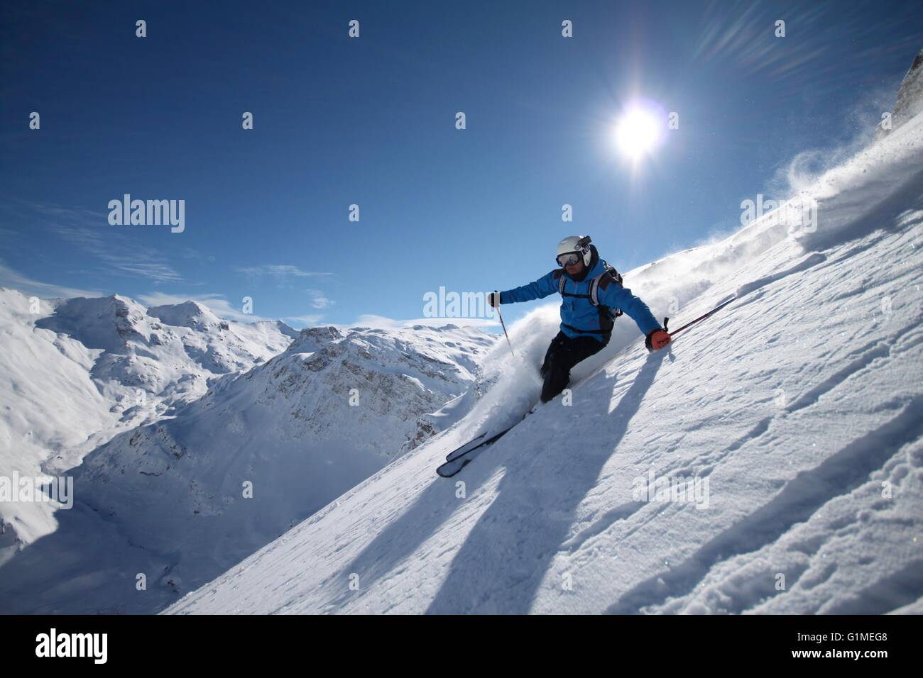 Off piste skiing in Val d'Isere, French Alps, Off piste, Ski, Snow - Stock Image