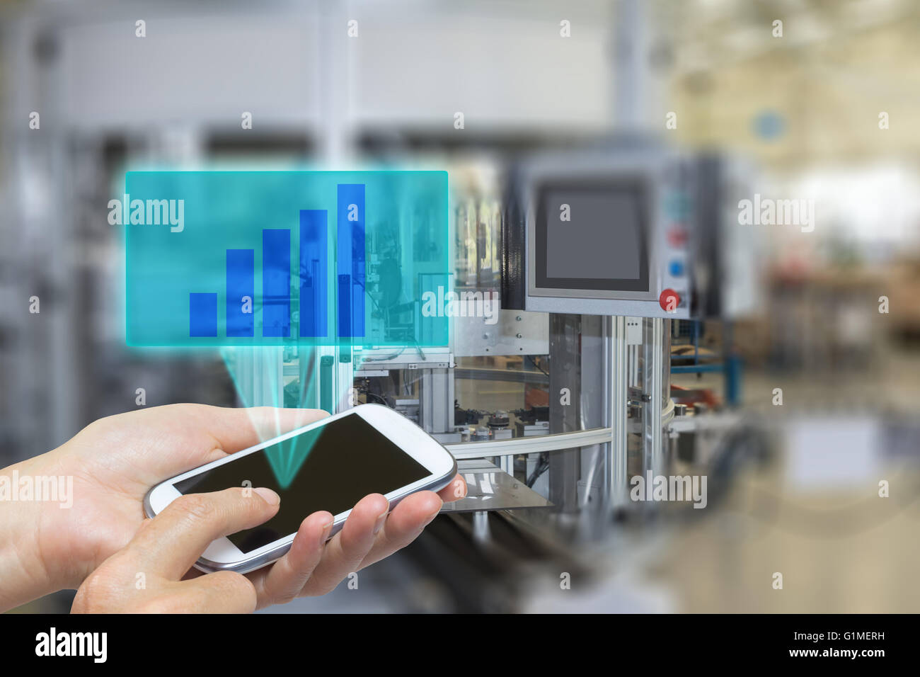 Female is using the smart phone Blank transparent rectangle with growth graph radiates from the screen pf  phone. - Stock Image