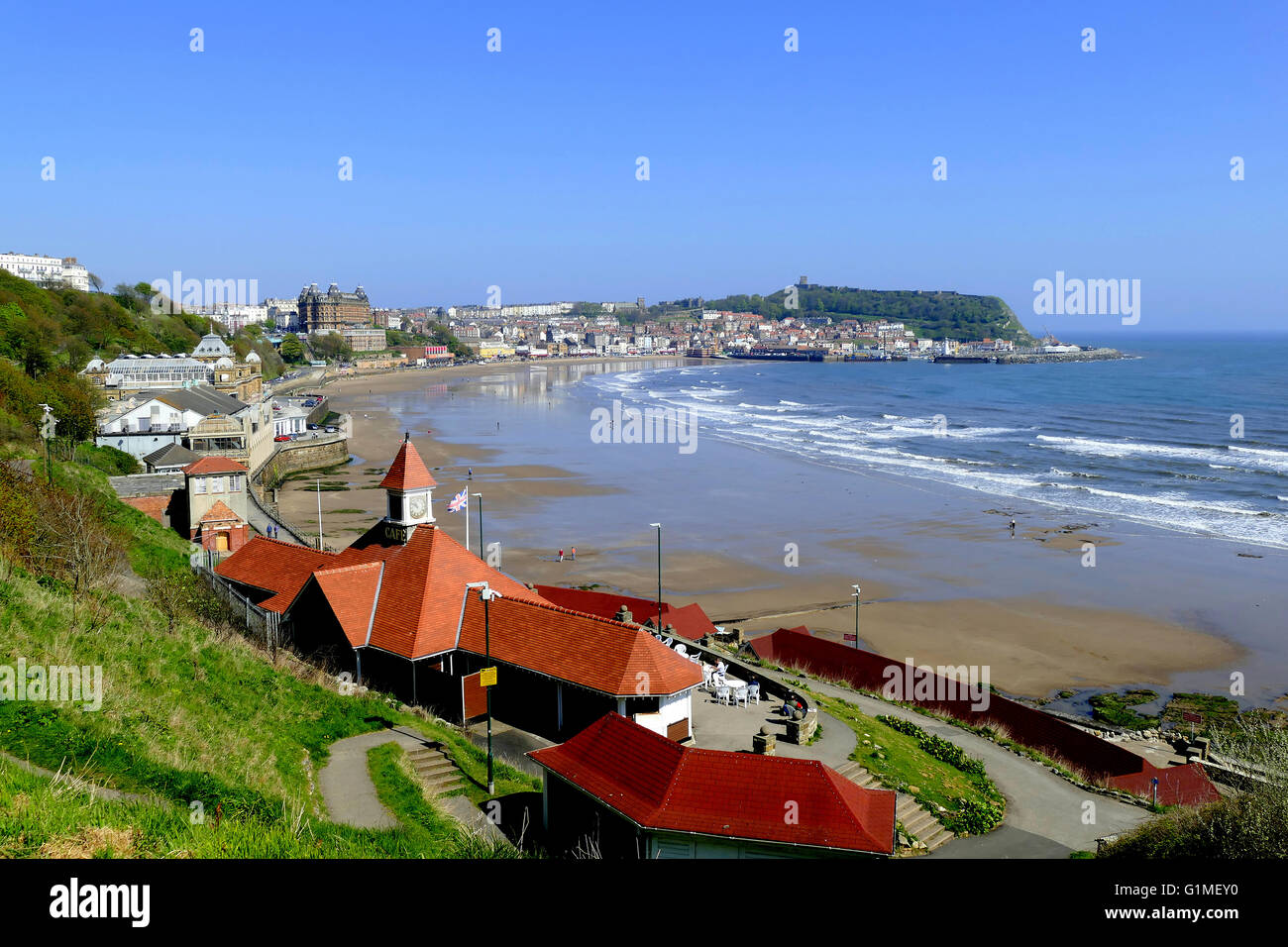 SCARBOROUGH, YORKSHIRE, UK. MAY 09, 2016. View of the Spa and bay from the South Cliff Gardens at Scarborough in - Stock Image