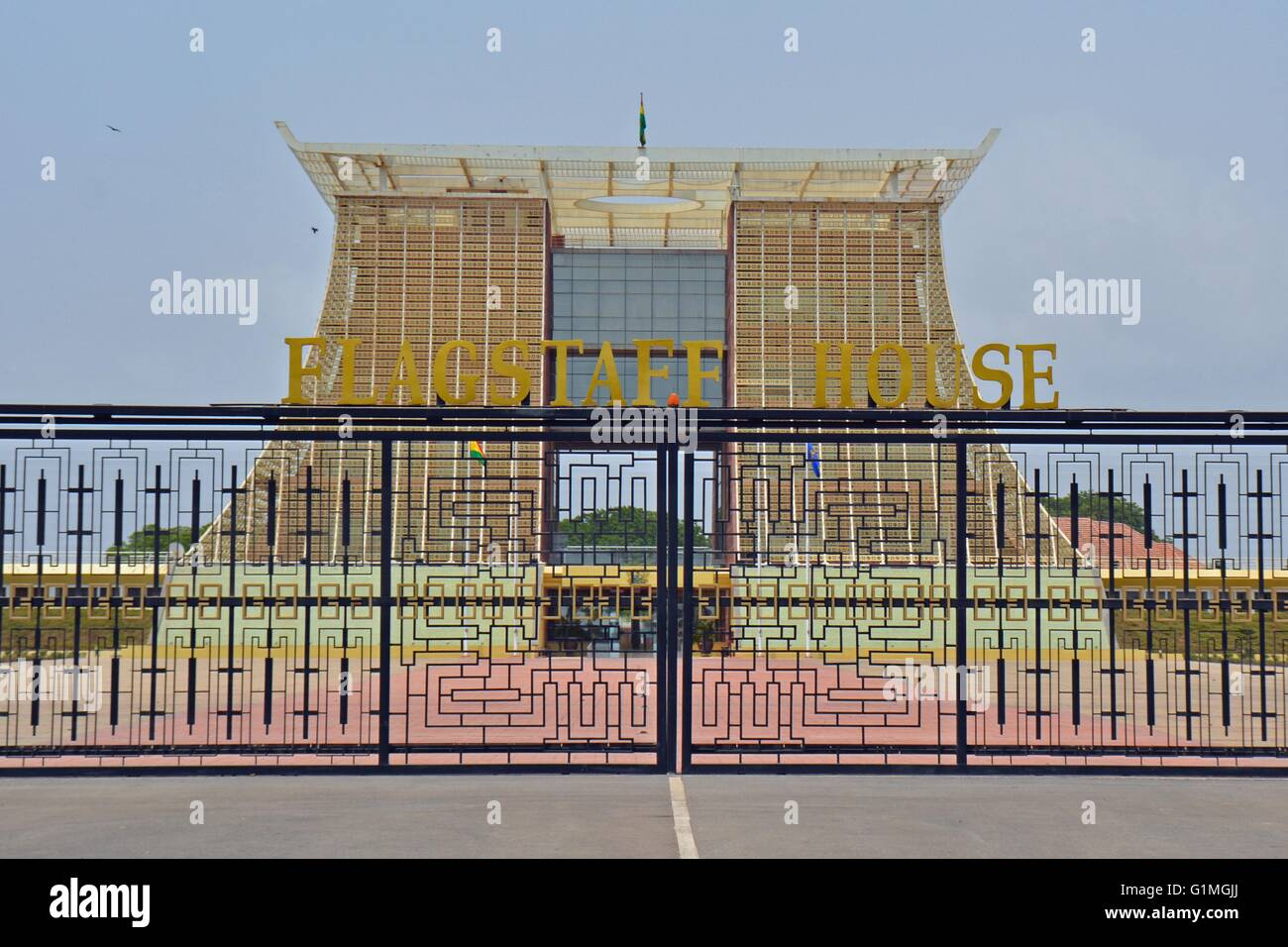 Accra, Ghana - Flag Staff House, of the president of the Republic of Ghana, main gate, front view - Stock Image