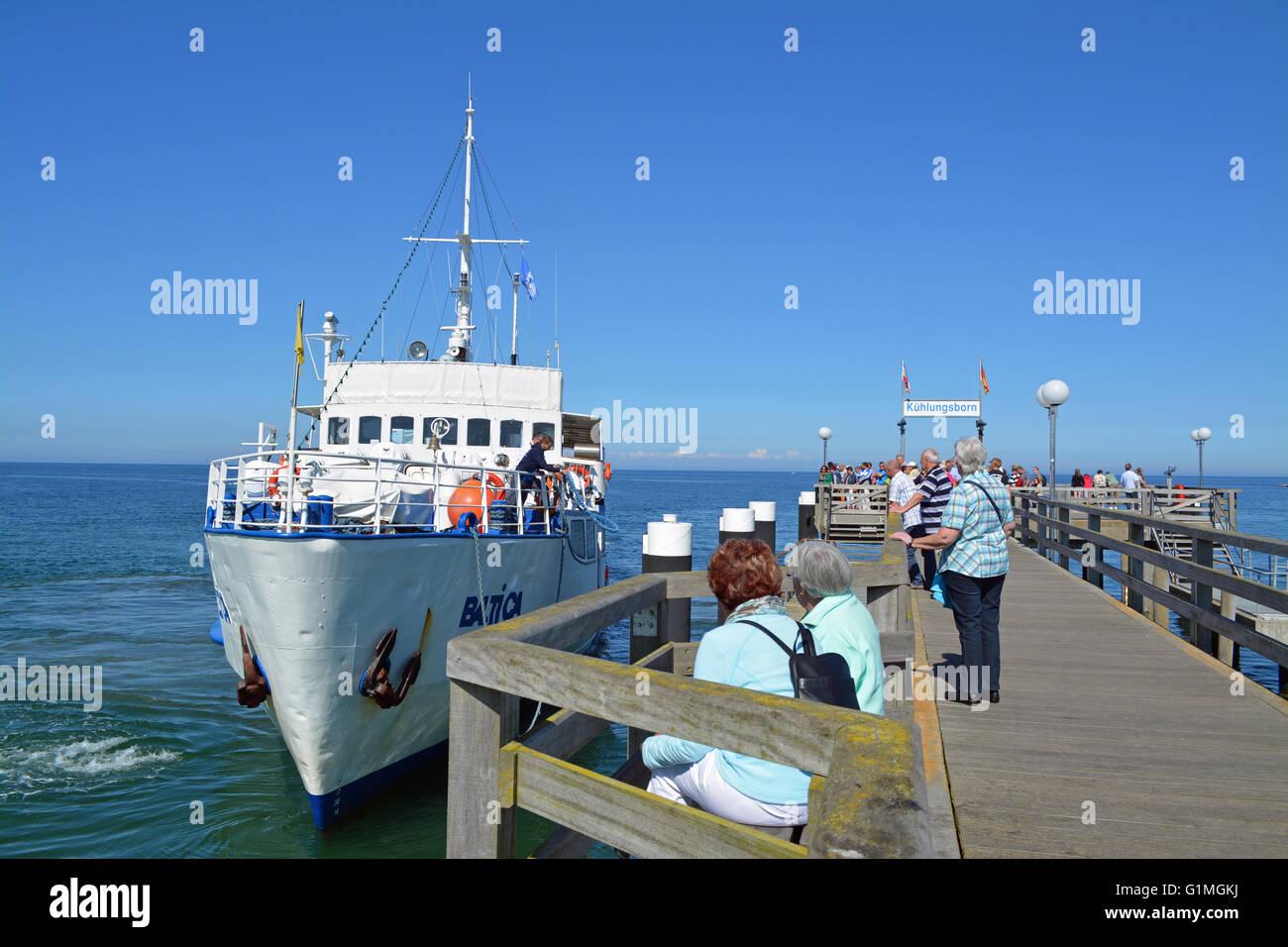 Passenger ship inKuehlungsborn, at the Baltic sea, Germany - Stock Image
