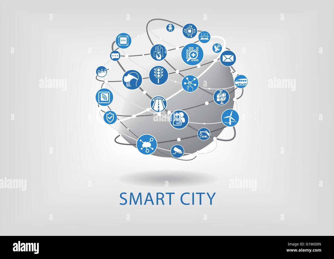 Smart city infographic - Stock Image