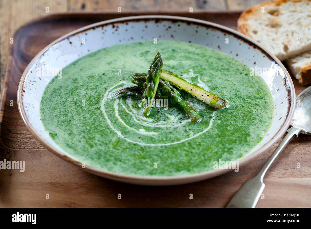 Asparagus and spinach soup - Stock Image