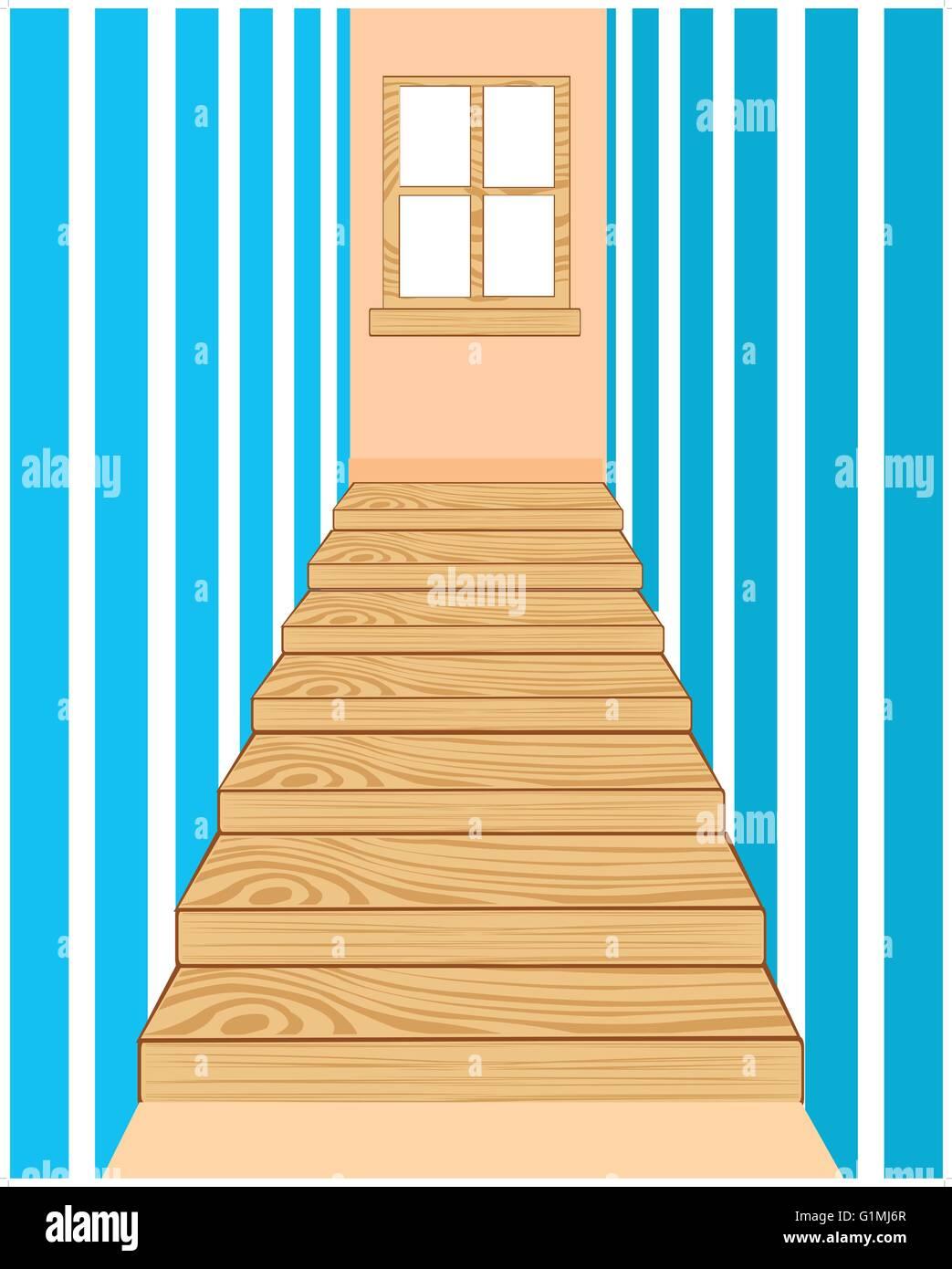 Illustration of the wooden stairway in long corridor - Stock Vector