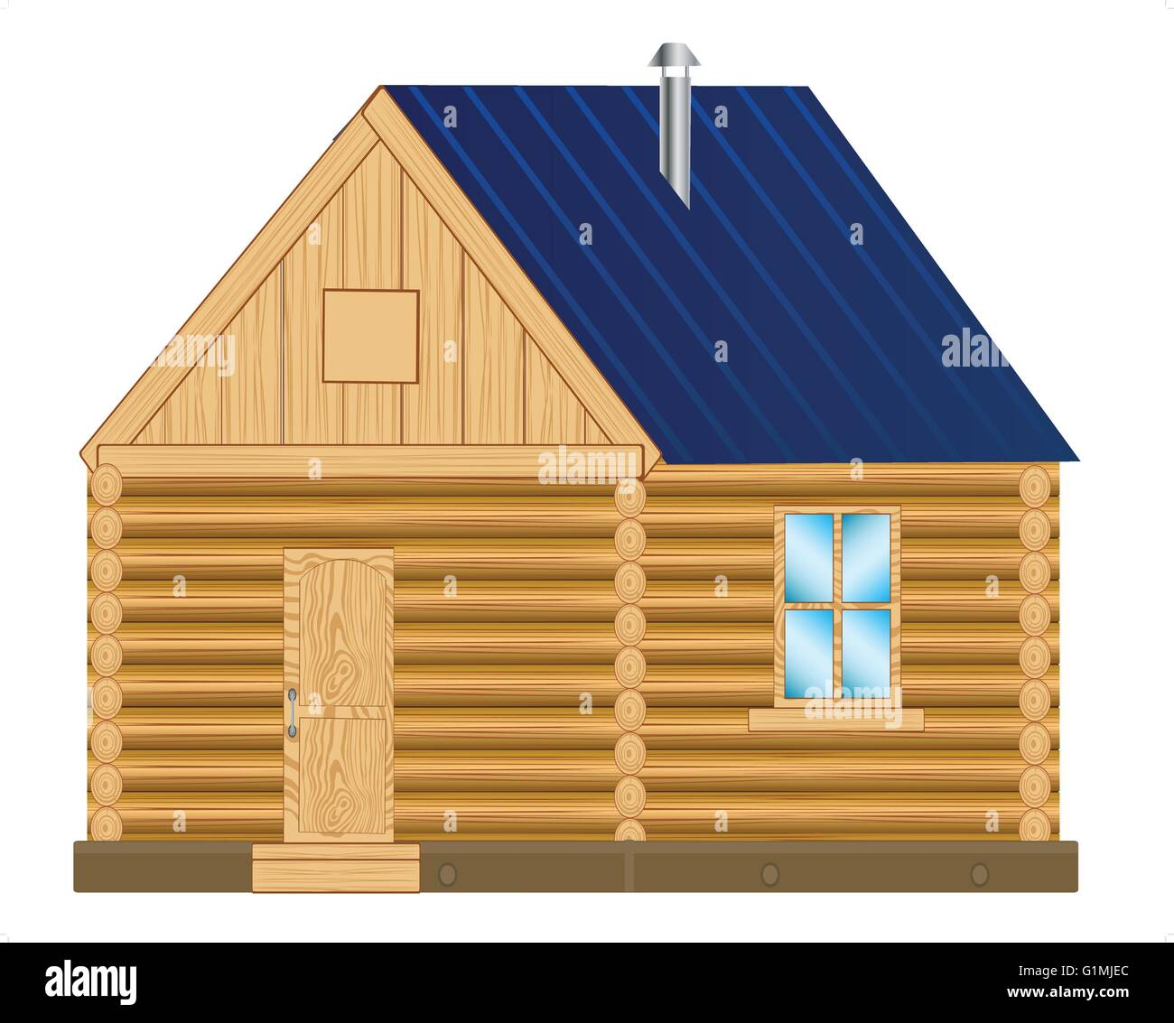 Illustration of the wooden lodge on white background - Stock Vector