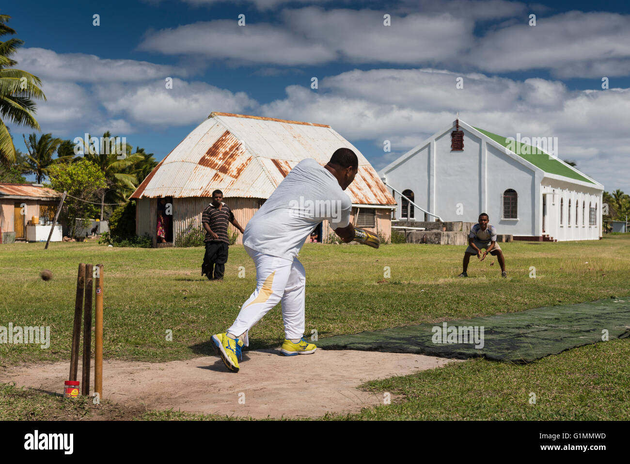 What the British left the Fijians! Wednesday cricket match on the strip in front of the Methodist Church and Kelepi - Stock Image