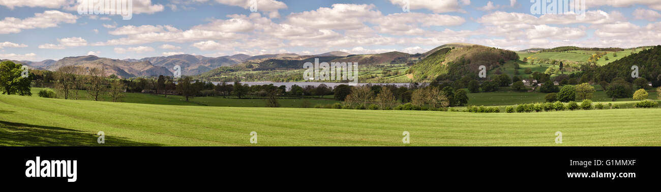 Ullswater (in the Lake District), Cumbria, UK. A panoramic view of the lake in early summer, from Roehead near Pooley - Stock Image