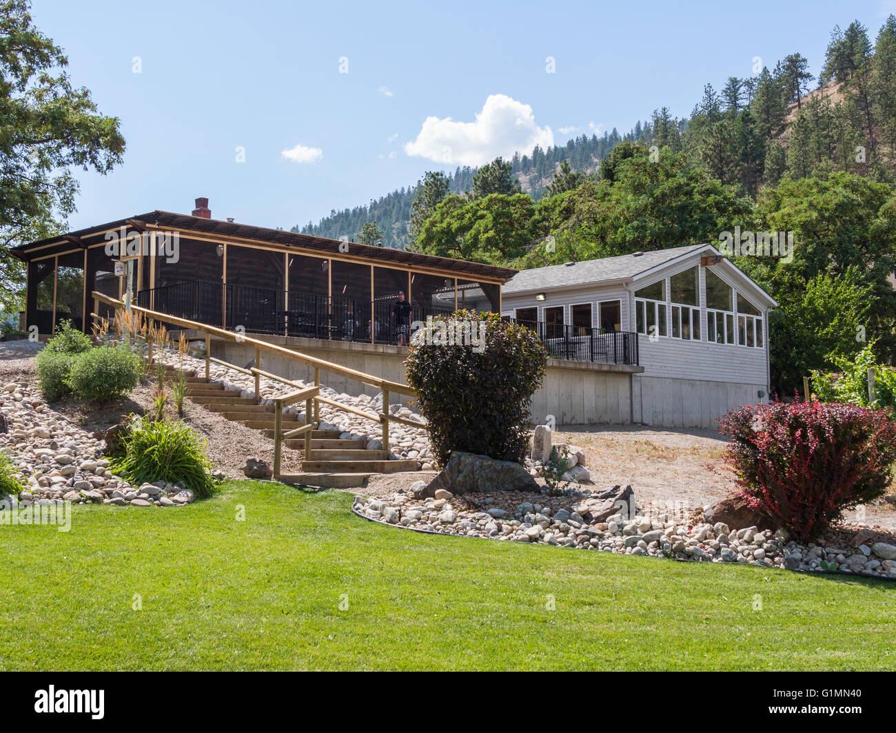 Restaurant and shop at See Ya Later Ranch and Winery, Near Okanagan Falls, BC, Canada. - Stock Image