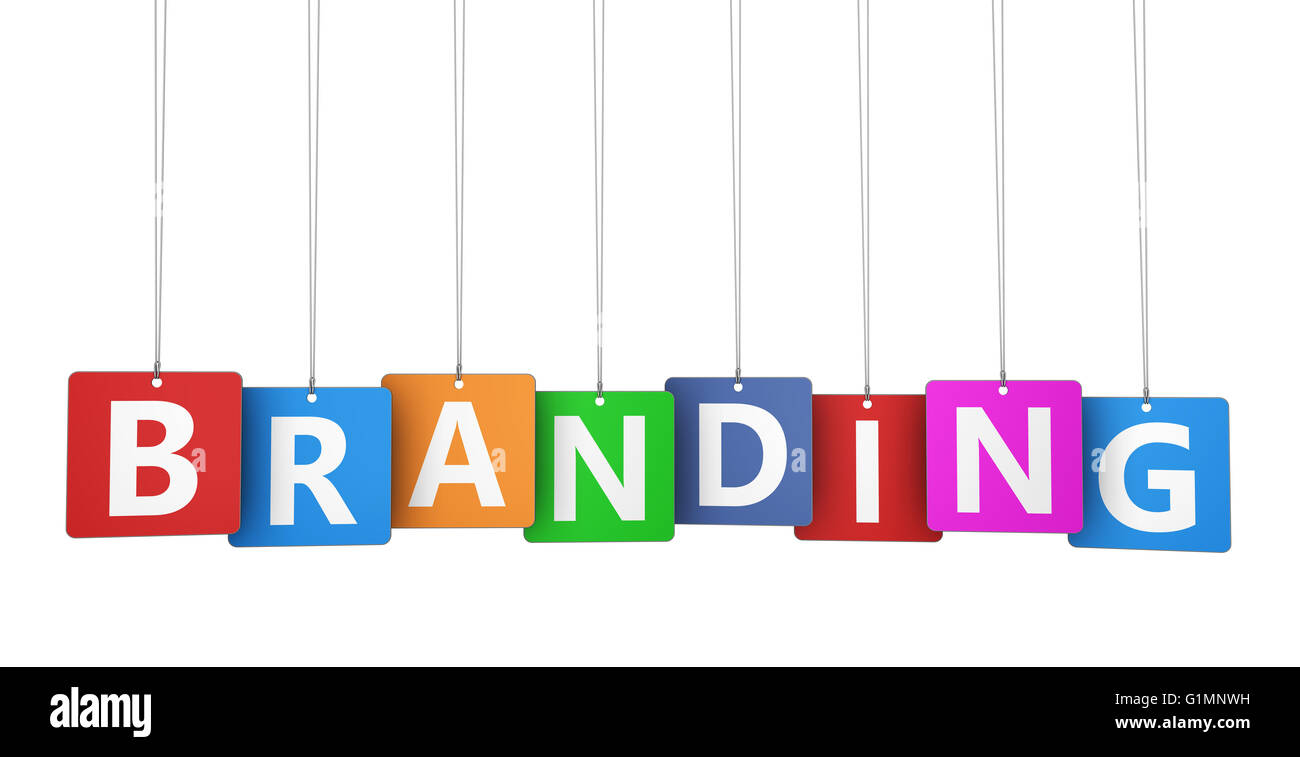 branding marketing concept with branding word on colorful tags for