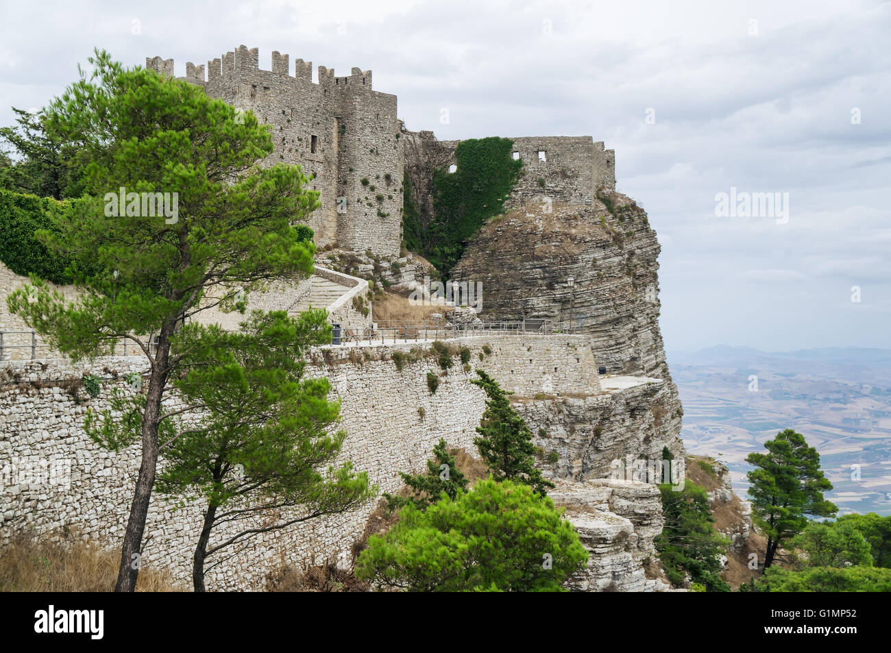 Old Erice town, Trapani. Sicily, Italy - Stock Image