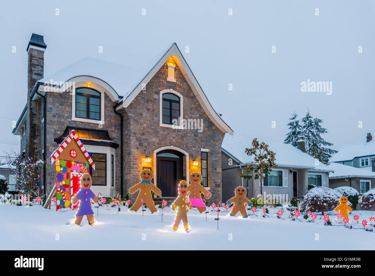 gingerbread house and men trinity st christmas lights competition vancouver british columbia canada