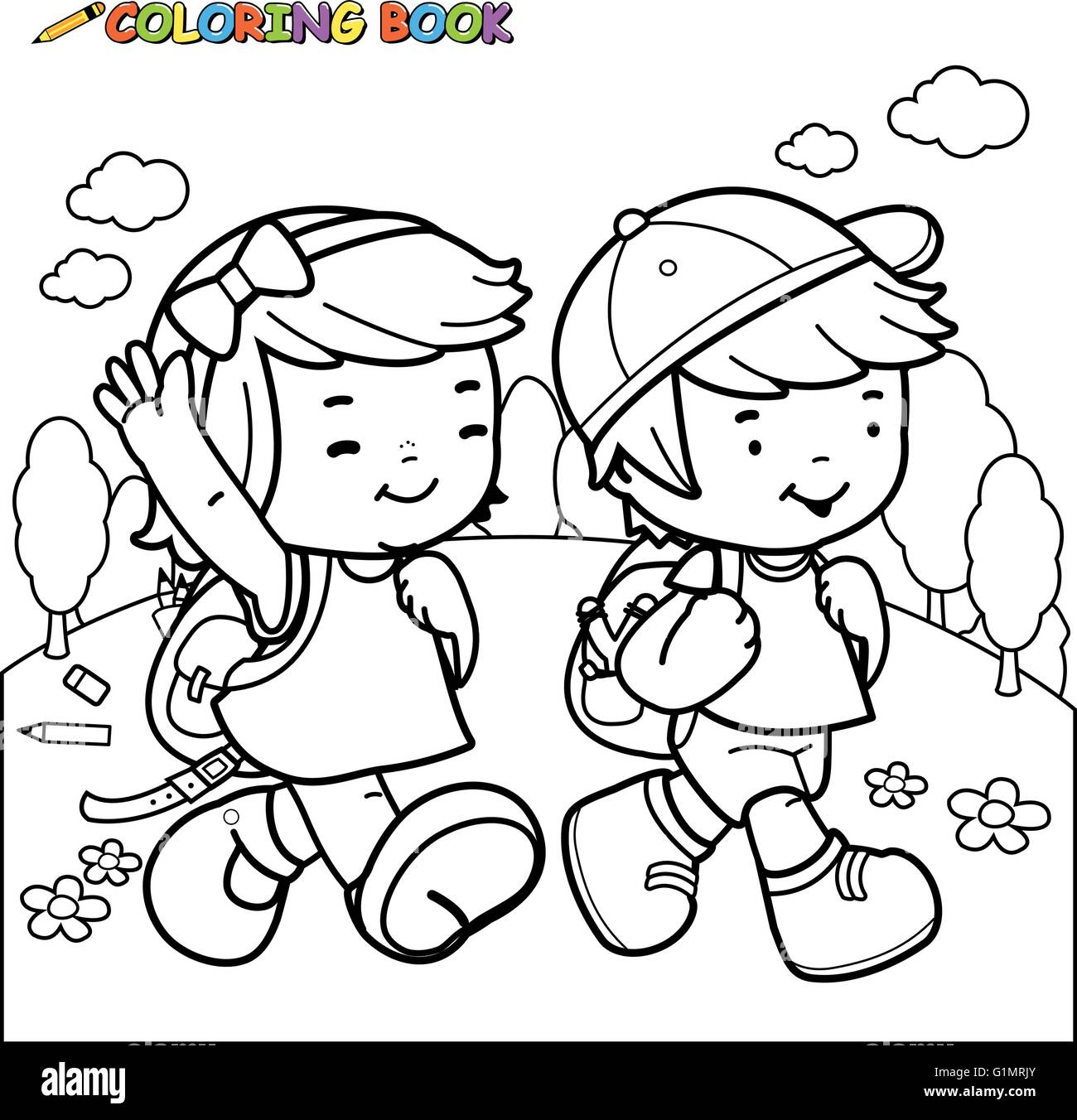 Black and white outline image of a girl and a boy students for Outline of a boy and girl coloring pages
