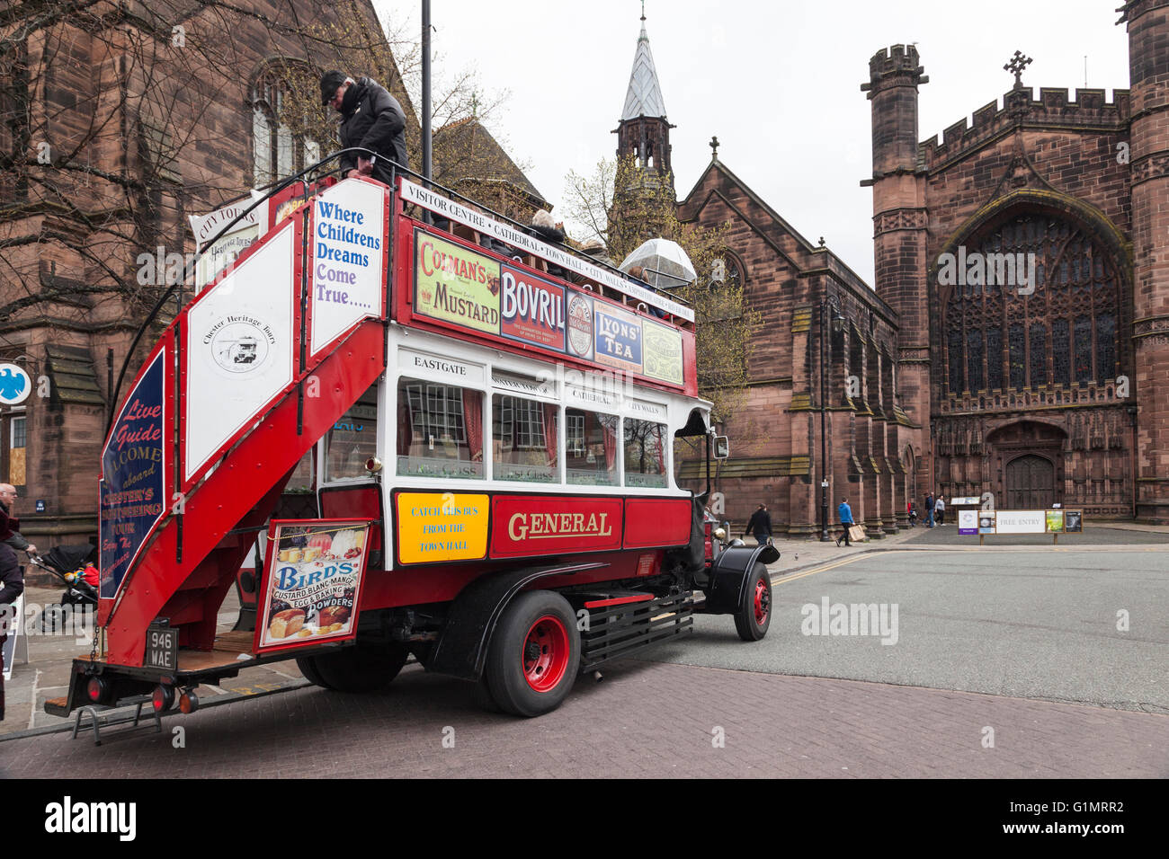 A London General Omnibus Company B-Type motorbus from Chester Heritage Tours - Stock Image