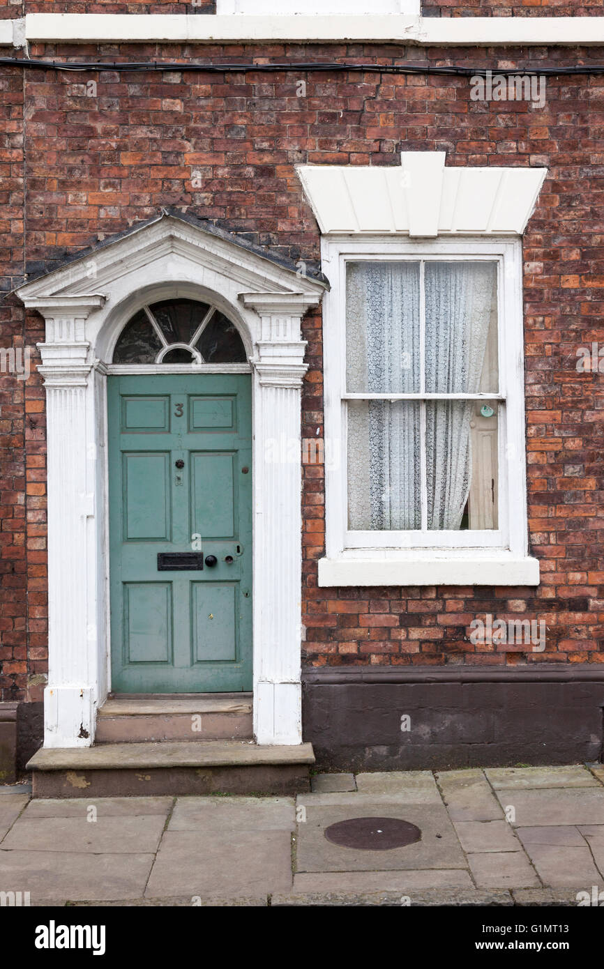 Traditional front door of a house in Chester, England - Stock Image