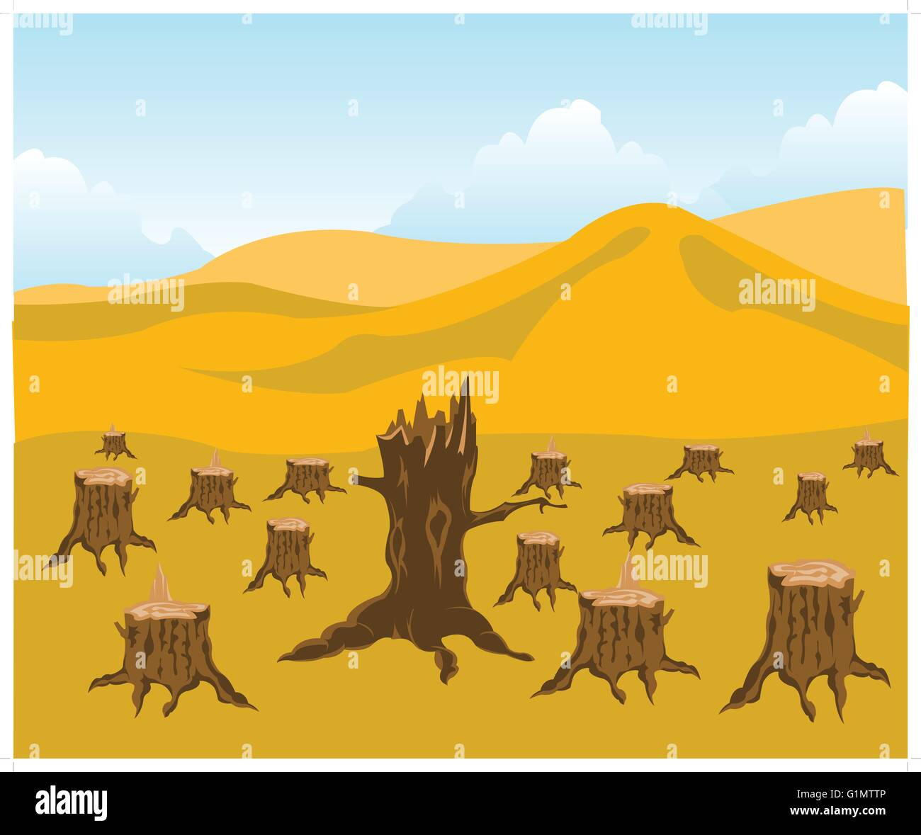 The Chopped down wood and desert.Ecological disaster - Stock Image