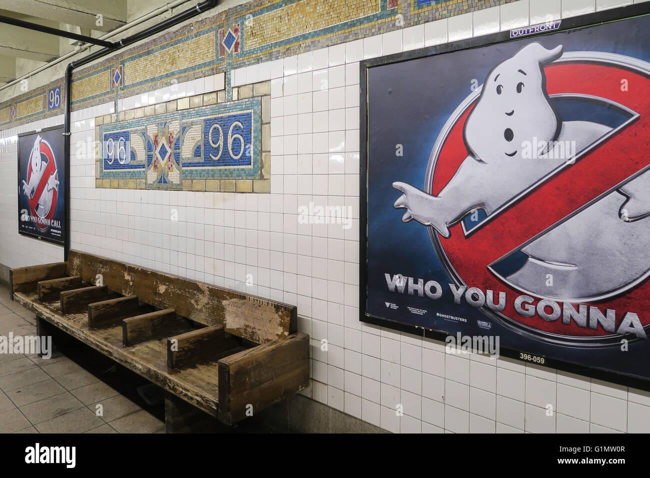 96th Street Subway Platform, NYC - Stock Image