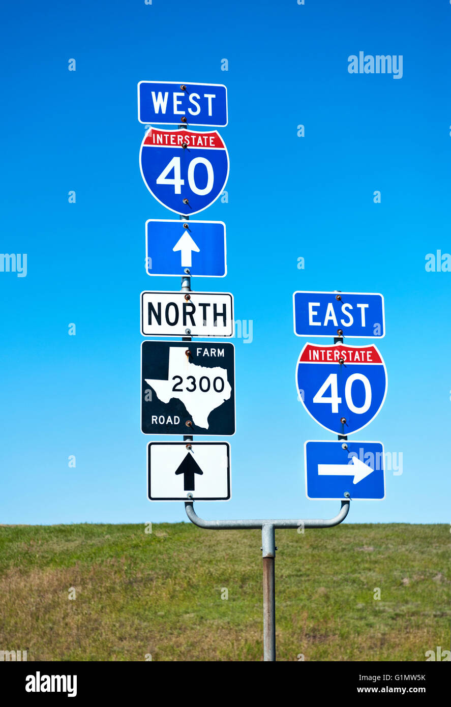Road signs on route 40 in Texas - Stock Image