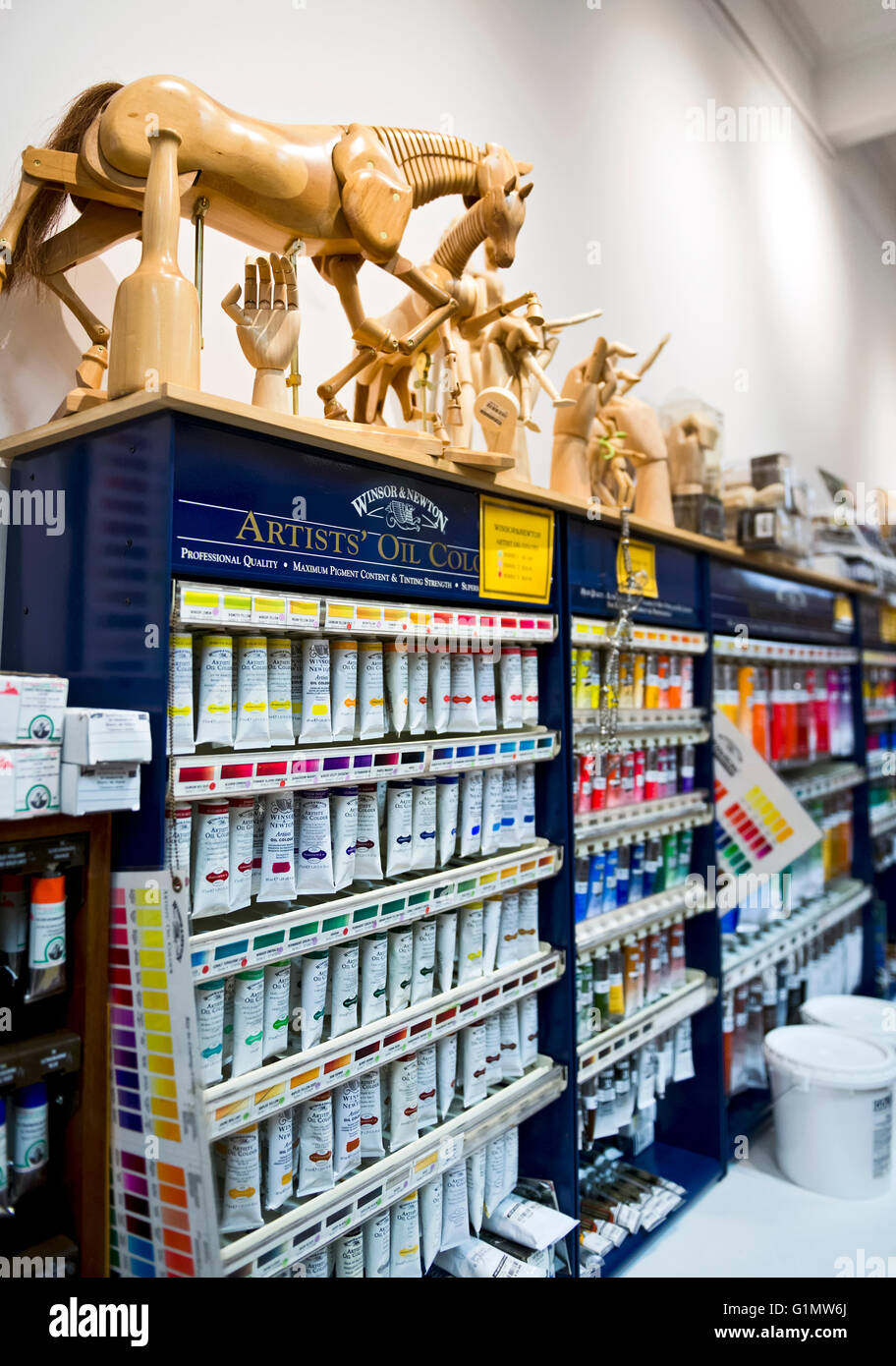 Art and artist supplies in an art supply store - Stock Image