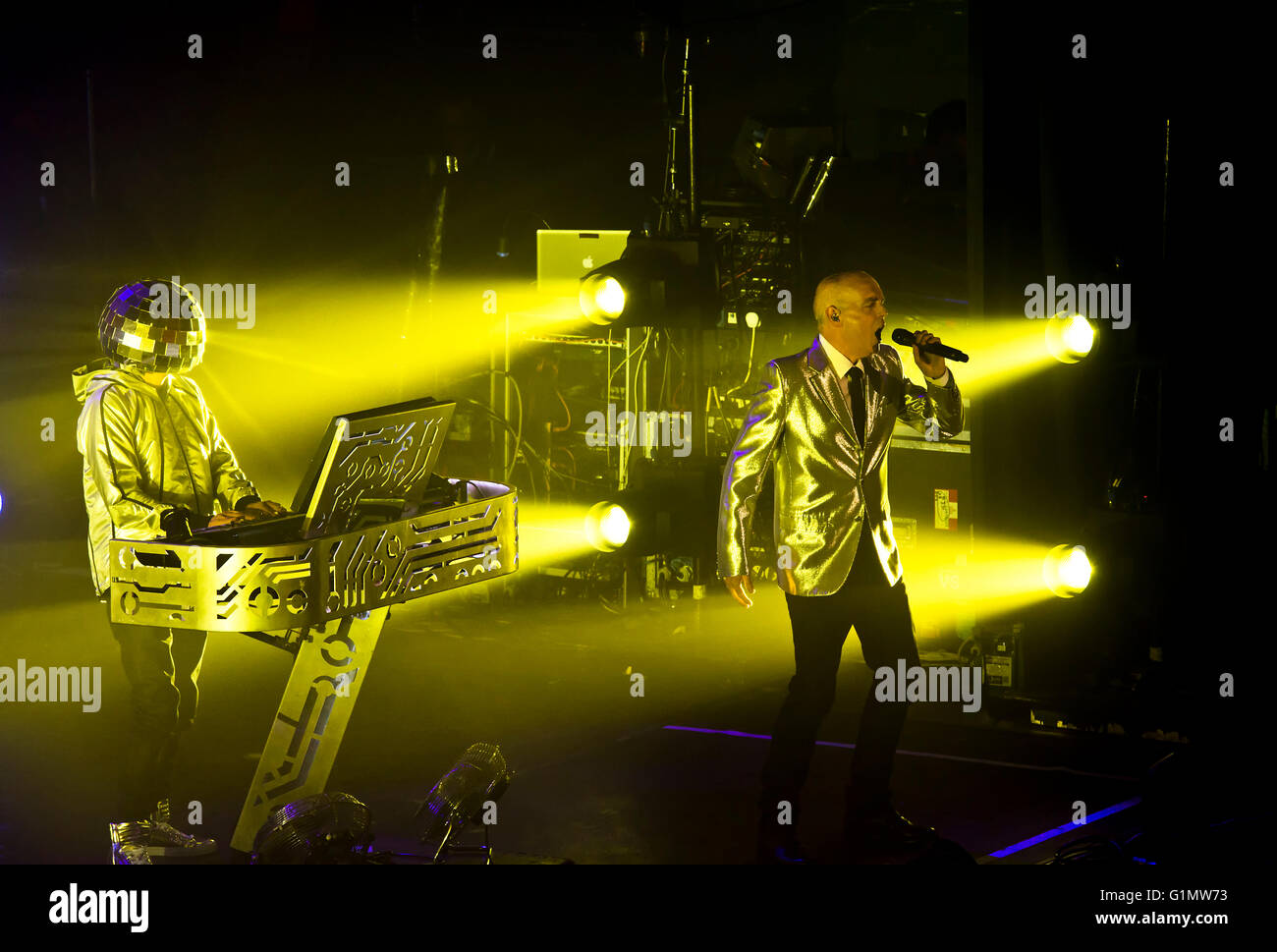 Neil Tennant and Chris Lowe of the 'Pet Shop Boys' performing on stage - Stock Image