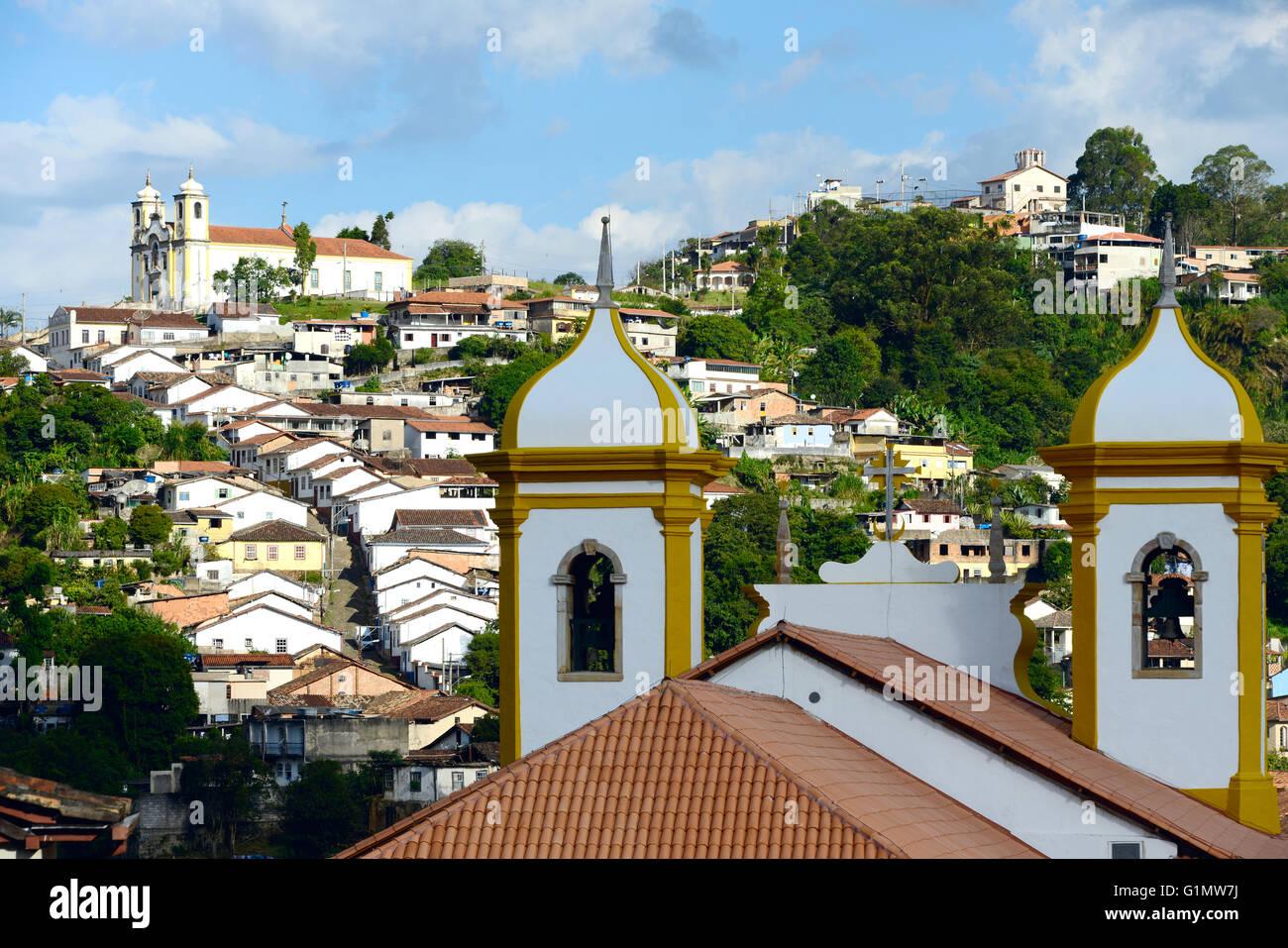 View of the unesco world heritage city of Ouro Preto in Minas Gerais Brazil - Stock Image