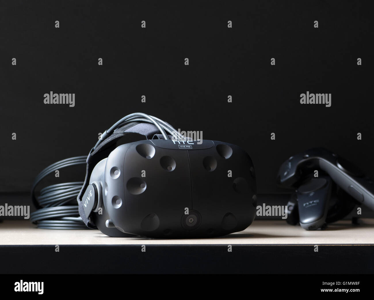 Close up picture of HTC Vive Virtual reality headset - Stock Image